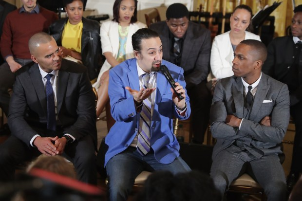 """Broadway cast of """"Hamilton,"""" including Christopher Jackson (George Washington), creator and star Lin-Manuel Miranda (Alexander Hamilton) and Leslie Odom Jr. (Aaron Burr), conduct a question-and-answer session with students in the East Room of the White House on March 14, 2016. A touring version of """"Hamilton"""" is playing in Denver through April 1."""