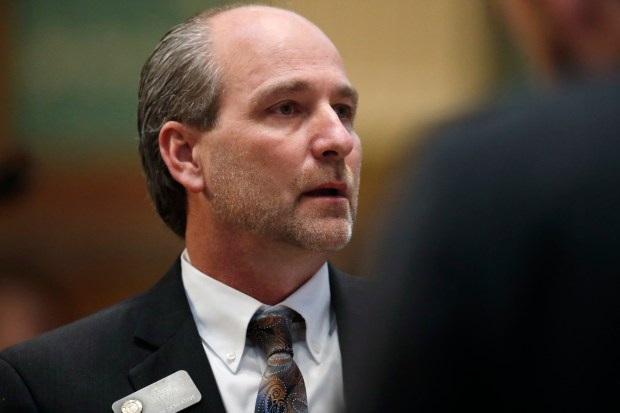 State Rep. Steve Lebsock of Thornton listens during debate on March 2 over whether to expel him from the Colorado legislature after five women accused him of sexual misconduct. Lebsock was ousted in a 52-9 vote.