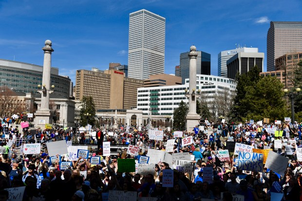 Colorado students and supporters descend on Civic Center Park March 24, 2018 for the March for Our Lives to call on lawmakers to end gun violence and ensure students' well being.