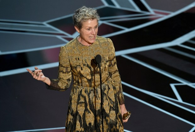 Frances McDormand accepts an Oscar during the 90th Annual Academy Awards at the Dolby Theatre in Hollywood on Sunday.