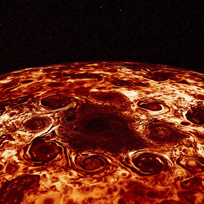 This composite image provided by NASA, derived from data collected by the Jupiter-orbiting Juno spacecraft, shows the central cyclone at the planet's north pole and the eight cyclones that encircle it. Jupiter's poles are blanketed by geometric clusters of cyclones and its atmosphere is deeper than suspected, scientists reported Wednesday, March 7, 2018.
