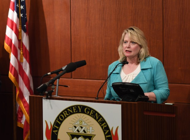 Colorado Attorney General Cynthia Coffman speaks at the Ralph L. Carr Colorado Judicial Building in Denver on Aug. 16, 2016.