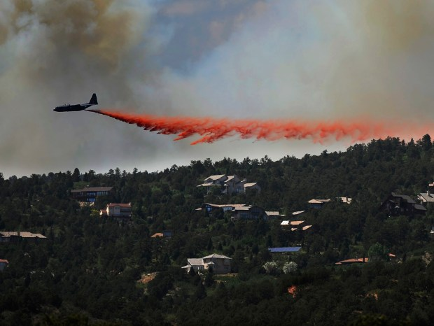An air tanker battles the Waldo Canyon fire, west of Colorado Springs, on June 26, 2012.