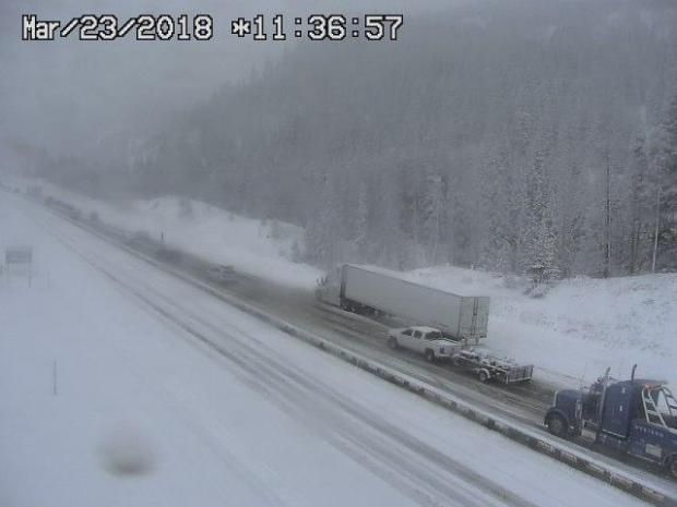 Travel along Interstate 70 near Vail and Copper Mountain was treacherous Friday morning. While the snow will be cleared by Saturday, Colorado Department of Transportation officials say the go will be slow due to spring breakers heading to the hills.