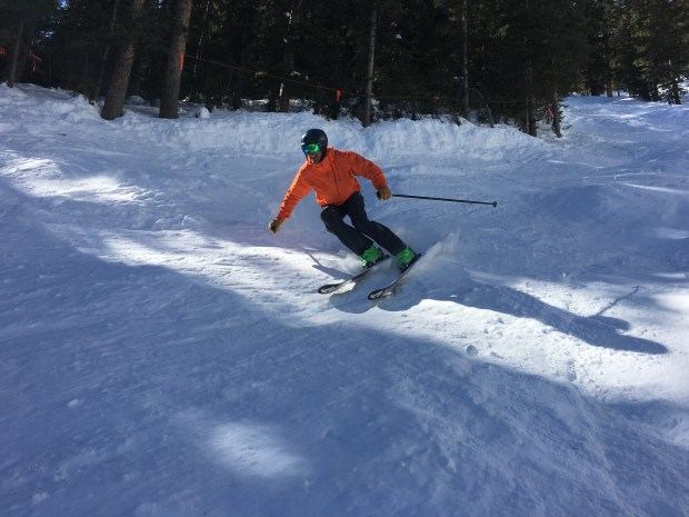 Aspen Skiing Co. CEO Mike Kaplan skis at Aspen Highlands in March 2018.