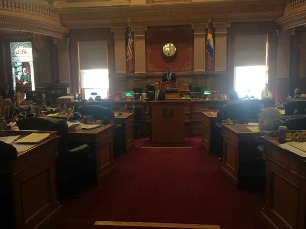 Colorado Sen. Stephen Fenberg, D-Boulder, debates a bill that would allow people to carry concealed guns without a permit on March 8, 2018 at the Colorado Capitol.