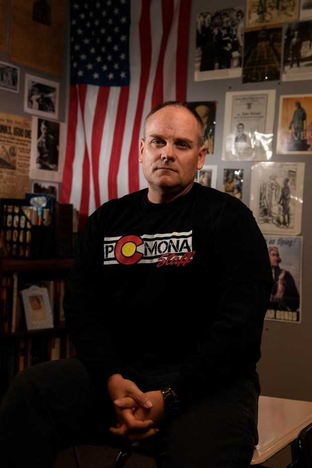 ARVADA, CO - FEBRUARY 23: Pomona High School social studies teacher Dale Munholland poses for a portrait before teaching an American history class at Pomona High School on Friday, February 23, 2018. Munholland, who has 20-plus years of teaching experience, said that teachers are there to take care of the kids, but shouldn't be expected to engage an active shooter. (Photo by AAron Ontiveroz/The Denver Post)