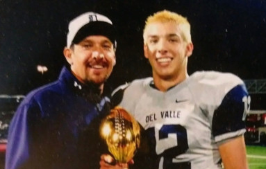 Colorado Buffaloes quarterback Steven Montez stands with his father, Alfred, during Steven's playing days at Del Valle High School in El Paso, Texas.