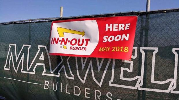 A prankster hung this In-N-Out Burger sign on the construction fence at a development at 57th Street and U.S. 287 in north Loveland on Sunday. The apparent April Fools' Day joke got some Loveland residents' hopes up, but the developer of the site said In-N-Out isn't coming to his property.