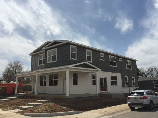 The first duplex at the Alton Street Homes project in Aurora. These two units, at 1795 and 1797 Alton Street, are constructed of four modular pieces designed by developer Adam Berger. Berger expected to get a certificate of occupancy for the homes in the spring of 2018.
