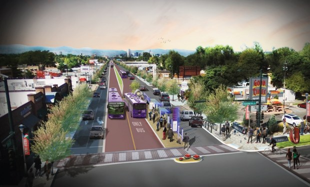 A rendering shows how East Colfax Avenue would change at North Krameria Street with the introduction of center-running dedicated bus lanes in a bus rapid transit system.
