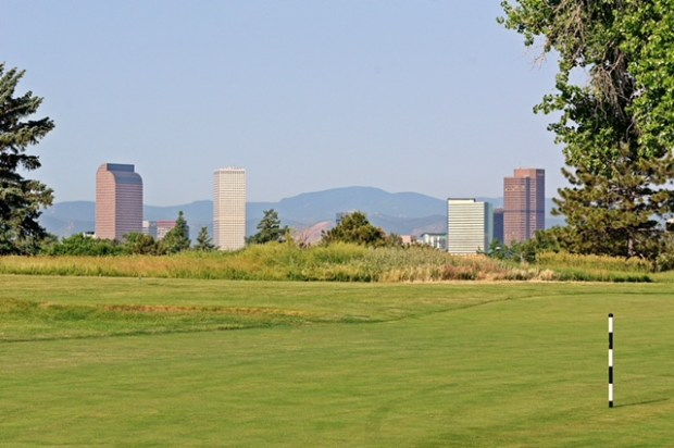 Downtown Denver's skyline is seen from the Park Hill Golf Course.