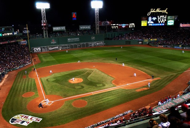A general view of the action in the first inning of Game One of the American League Championship Series between the Boston Red Sox and the Cleveland Indians at Fenway Park on Oct. 12, 2007 in Boston, Mass.