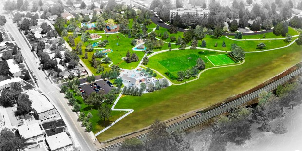 """At Paco Sanchez Park in west Denver, plans for the """"Re-imagine Play"""" project call for new kinds of playground equipment and a walking path spread throughout the park, along with a community plaza."""