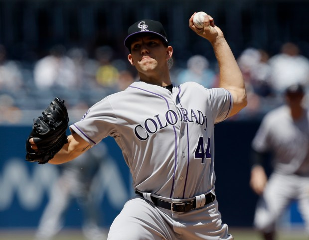 Colorado Rockies starting pitcher Tyler Anderson throws to the plate during the first inning of a baseball game against the San Diego Padres in San Diego, Thursday, April 5, 2018.