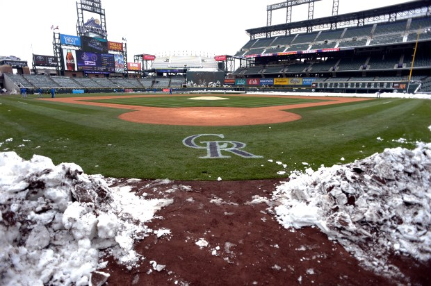 Snow covers the field as the ...