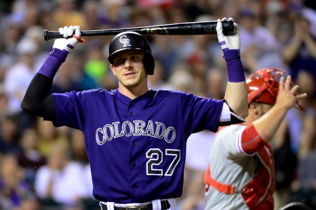 Trevor Story(27) of the Colorado Rockies ...