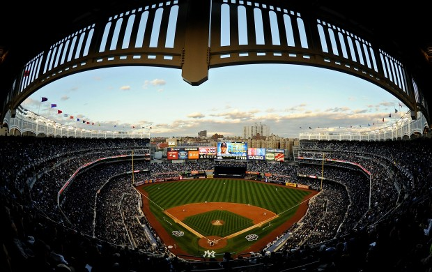 The New York Yankees take on the Minnesota Twins during Game 1 of the ALDS during the 2009 MLB Playoffs at Yankee Stadium on Oct. 7, 2009 in the Bronx borough of New York City.
