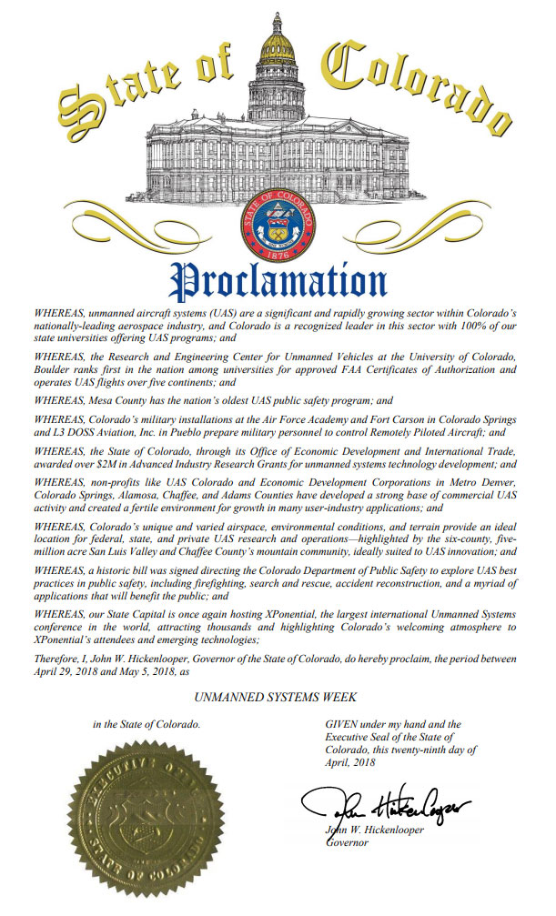 Colorado Gov. John Hickenlooper proclaimed April 29 to May 5, 2018 as Unmanned Systems Week.