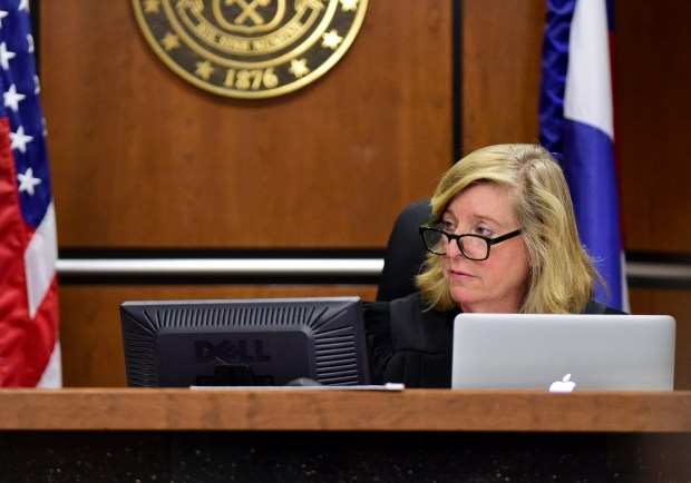 Then-Boulder County District Judge Maria Berkenkotter reads a 100 year total sentence to Dynel Lane at the Boulder County Justice Center on April 29, 2016.