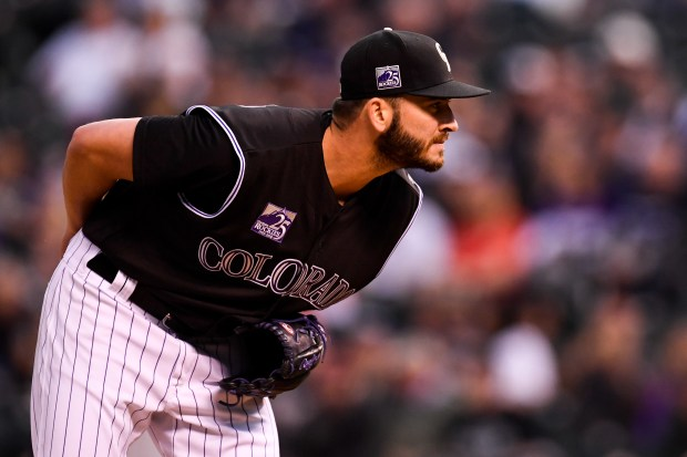 Chad Bettis (35) of the Colorado Rockies works against the San Diego Padres during the top of the first inning at Coors Field on Monday, April 23, 2018.