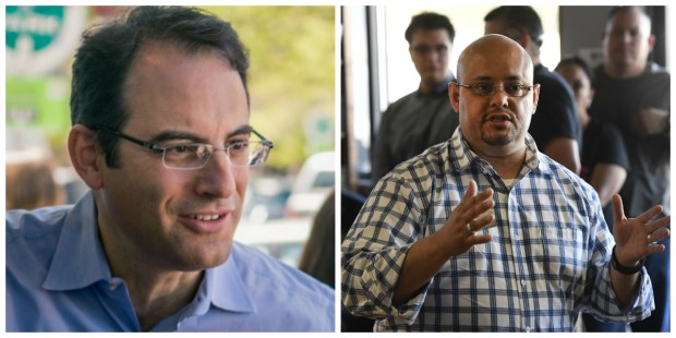Phil Weiser, left, and state Rep. Joe Salazar. The pair are facing off in the June 26 Democratic primary for a chance to become Colorado's next attorney general.
