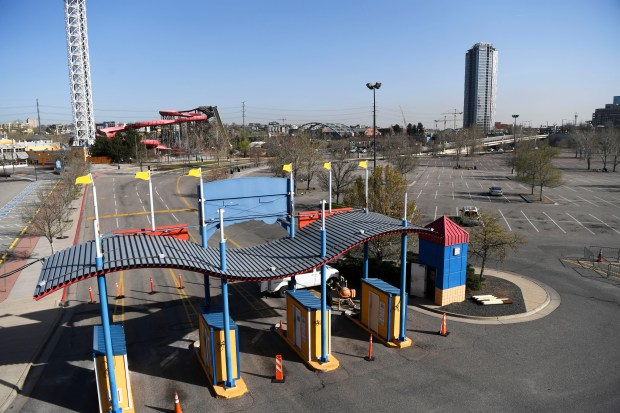The parking lots at Elitch Gardens Theme and Water Park, photographed on April 12, 2017, in Denver. A local investment team that bought Elitch Gardens in 2015 is exploring the possibility of developing the amusement park's lots.