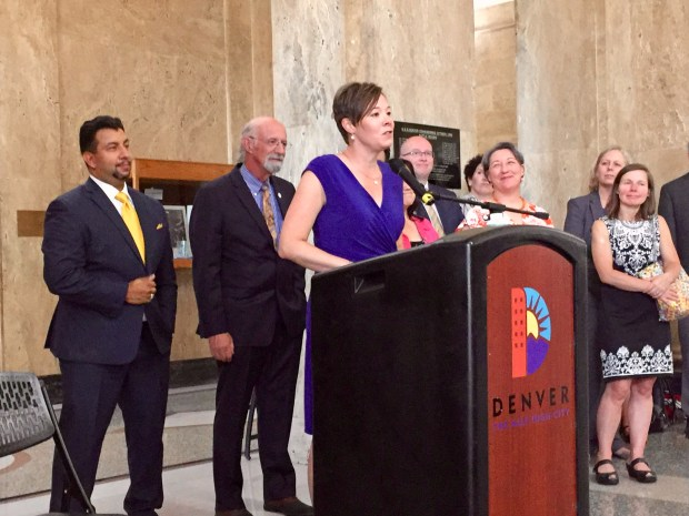 Denver City Councilwoman Robin Kniech speaks during the launch of the Denver Eviction Legal Defense Pilot program on June 13, 2018, in the City and County Building.