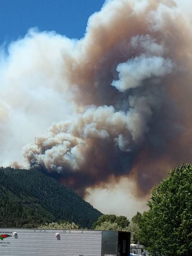A photo posted by the Rocky Mountain Incident Management Team shows the view of the 416 fire on June 10, 2018, from the incident command post at the Animas Valley Elementary School north of Durango.