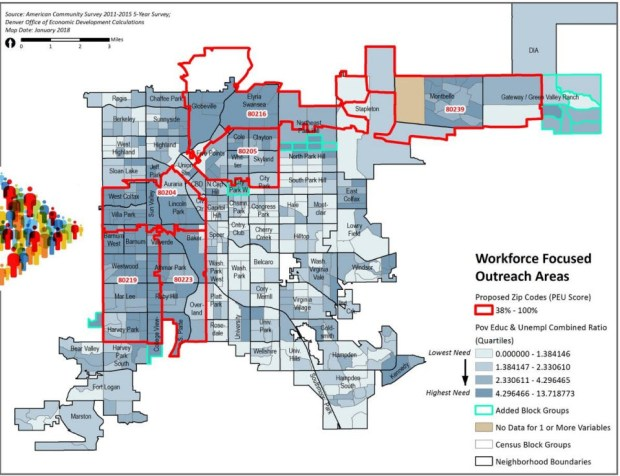 The map shows six targeted ZIP codes that will be the focus of a local worker recruitment strategy planned by a contractor on the National Western Center project.