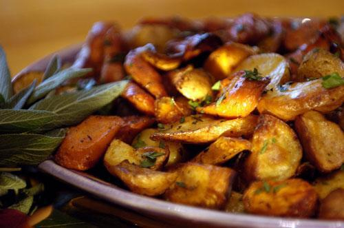 Roast potatoes with lemon juice and garlicl. Photo provided by Big Bang Catering