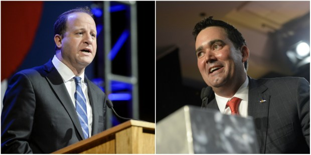 Jared Polis, left, and Walker Stapleton