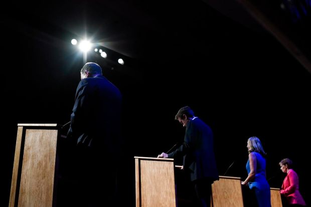 From right to left Donna Lynne, Cary Kennedy, Mike Johnston and Jared Polis during a Democratic party governor's race debate at the University of Denver on Monday, June 18, 2018.