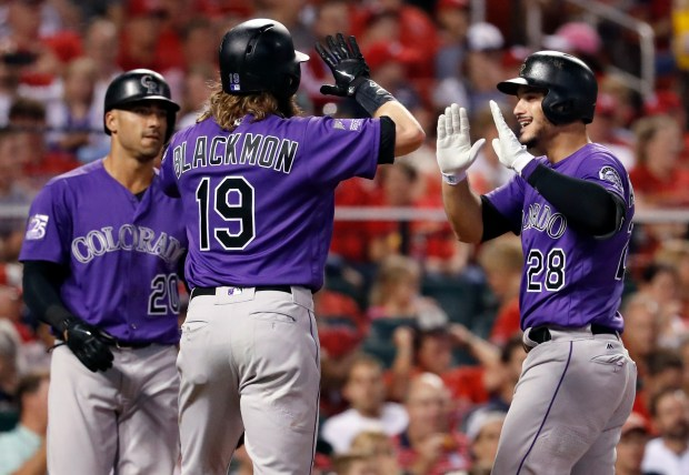 Colorado Rockies' Nolan Arenado (28) is ...
