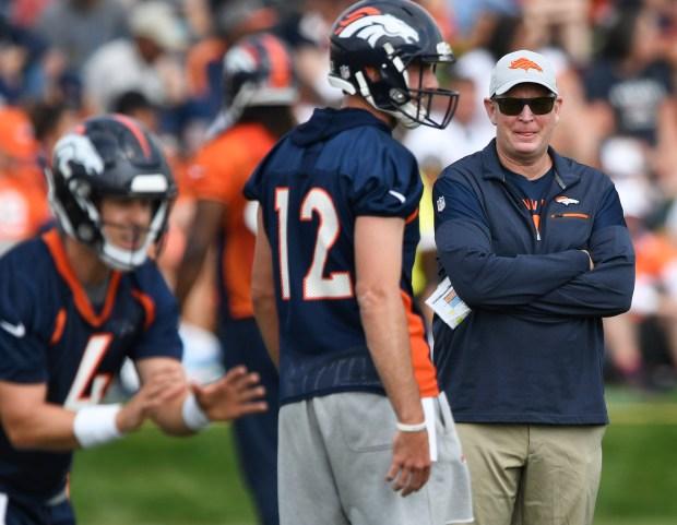 Denver Broncos offensive coordinator Bill Musgrave, ...
