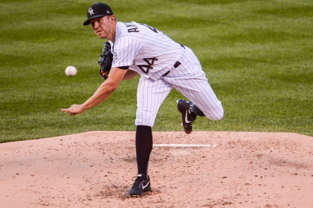 Tyler Anderson of the Colorado Rockies pitches in the first inning against the Los Angeles Dodgers on Aug. 9, 2018 at Coors Field in Denver.