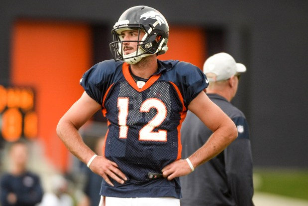 Paxton Lynch (12) of the Denver ...