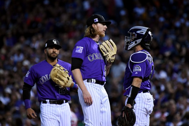 Colorado Rockies pitcher Jon Gray (55), ...