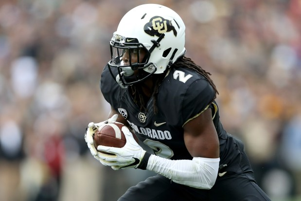 Laviska Shenault Jr. of the Colorado Buffaloes carries the ball in the second quarter against the Arizona State Sun Devils at Folsom Field on Oct. 6, 2018 in Boulder.