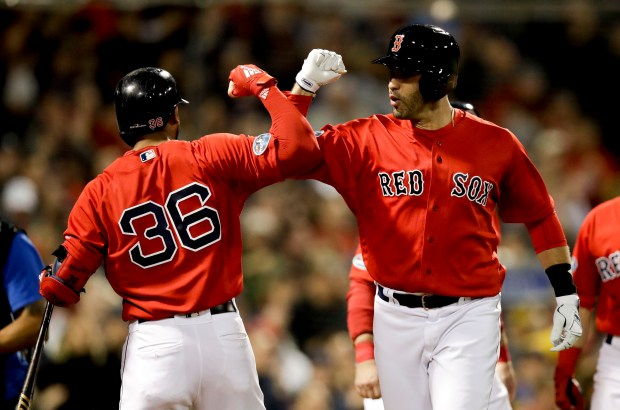 Boston Red Sox's J.D. Martinez celebrates ...