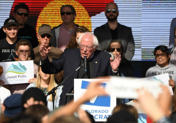 U.S. Senator Bernie Sanders speaks during ...