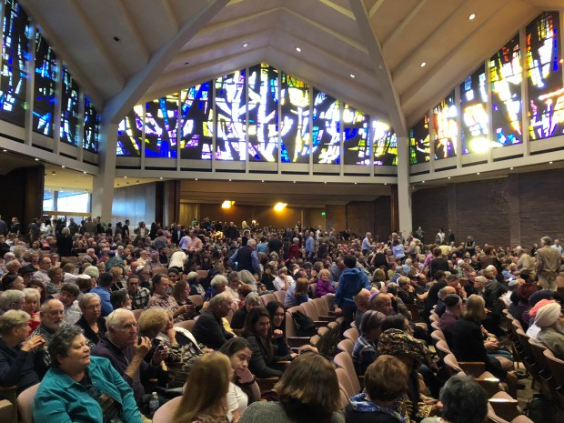 Approximately 3,000 people attended a vigil on Oct. 28, 2018 at the Temple Emanuel synagogue in Denver for the 11 victims of the shooting in a Pittsburgh synagogue over the weekend.