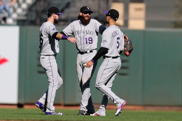 Colorado Rockies left fielder David Dahl ...