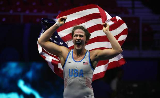 USA's Adeline Maria Gray celebrates her ...