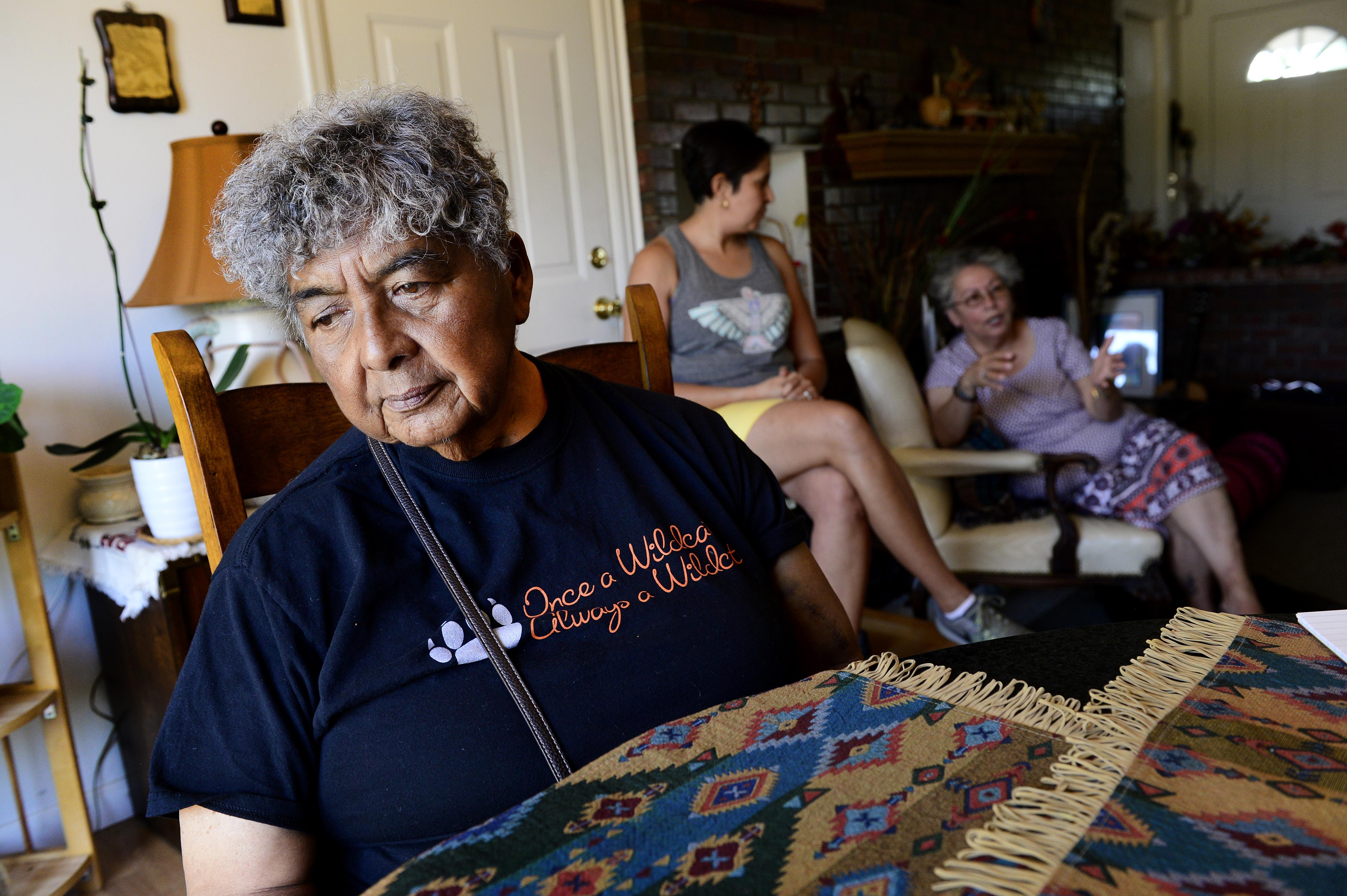 Josie Sanchez, 75, left, drifts off ...