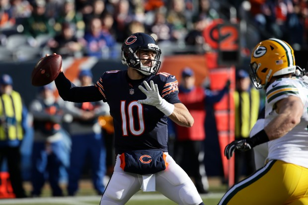 Quarterback Mitchell Trubisky of the Chicago Bears looks to pass in the first quarter against the Green Bay Packers at Soldier Field on Dec. 16, 2018 in Chicago.