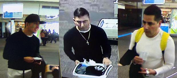 Authorities on Wednesday released these surveillance images of three men suspected in the theft of an estimated $800,000 worth of jewelry from a display case near the lobby of The Little Nell hotel on Friday afternoon.