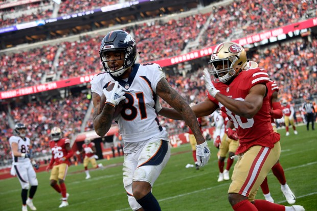 Tim Patrick (81) of the Denver Broncos makes a catch to get them inside the 5-yard line in the third quarter as the Denver Broncos take on the San Francisco 49ers at Levi's Stadium Dec. 9, 2018 in Santa Clara, Calif.