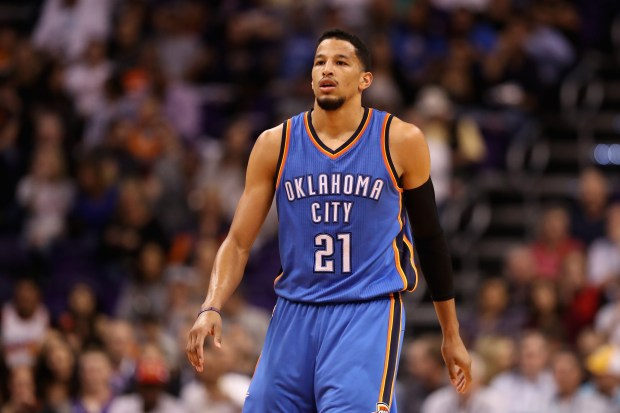 Andre Roberson of the Oklahoma City Thunder during the first half of the NBA game against the Phoenix Suns at Talking Stick Resort Arena on March 3, 2017 in Phoenix.