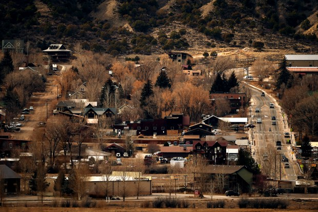 Ridgway, Colorado is seen from above ...